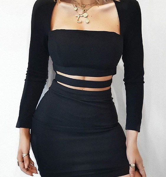 Elastic Strap Cut Out Design Square Neck Long Sleeves Dress 2