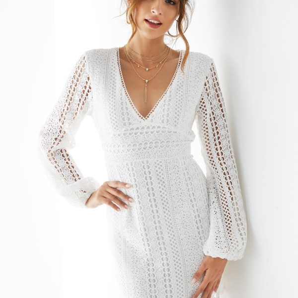 YOINS White Crochet Lace Embellished Long Sleeves Dress 2