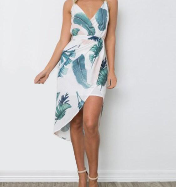 White Random Floral Print V-neck Sleeveless Dress 2