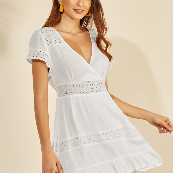 YOINS White Hollow Design Deep V Neck Short Sleeves Dress 2