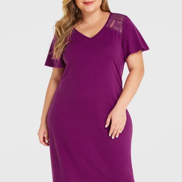 YOINS Plus Size Purple Lace Insert V-neck Dress 2