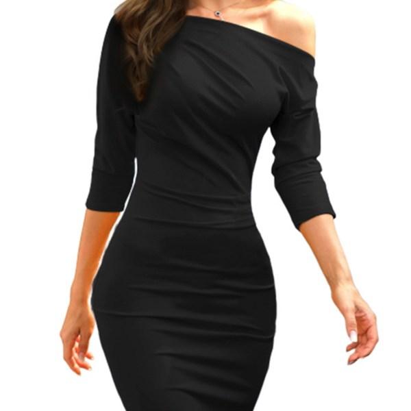 Black One Shoulder Half Sleeves Super Soft Dress 2