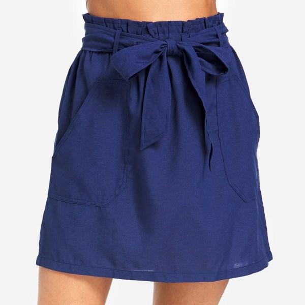 Navy Self-tie Design Side Pockets Skirt 2