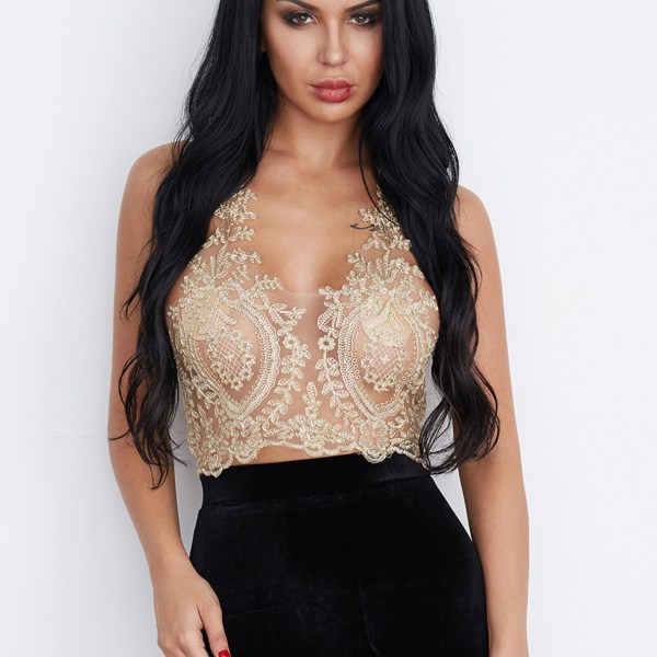 Gold Sexy Gold Thread Embroidery Hollow Out Lace Crop Top 2