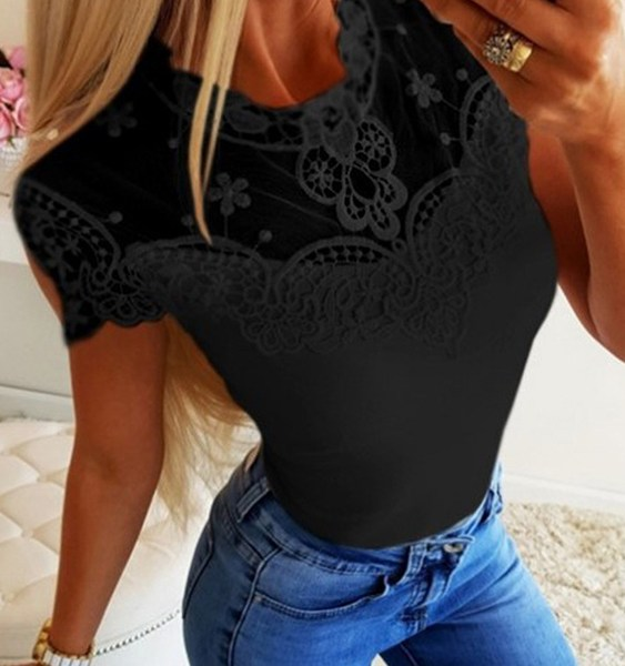 Lace Mesh Patchwork Crew Neck Short Sleeves Tee 2