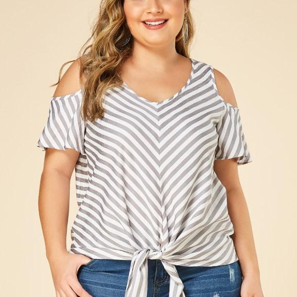 YOINS Plus Size Grey Stripe Cold Shoulder Knot Design Blouse 2