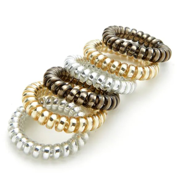 Silver Spiral Hair Rubber Ties 2