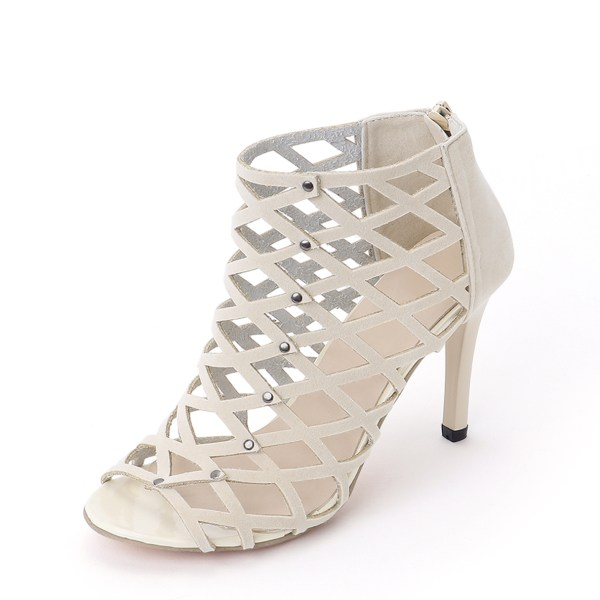 Khaki Sexy Peep Toe Hollow Design High-heeled Sandals 2
