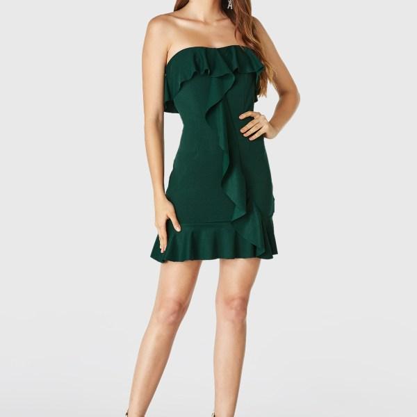 YOINS Dark Green Strapless Ruffle Trim Mini Dress 2