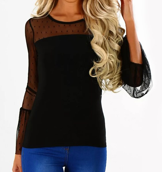 Black See-through Wave Point Crew Neck Long Sleeves Top 2