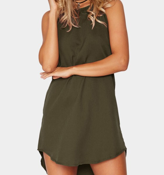 Army Green Simple Sleeveless Mini Dress 2