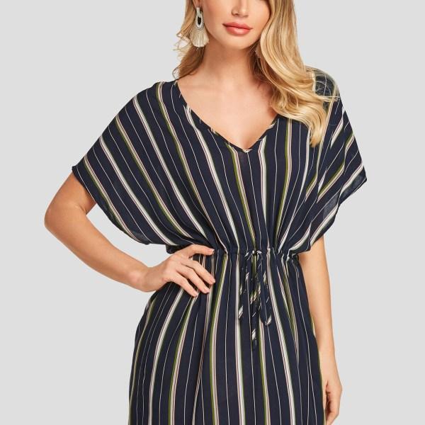 YOINS Multi Stripe V-neck Drawstring Waist Dolman Sleeves Dress 2