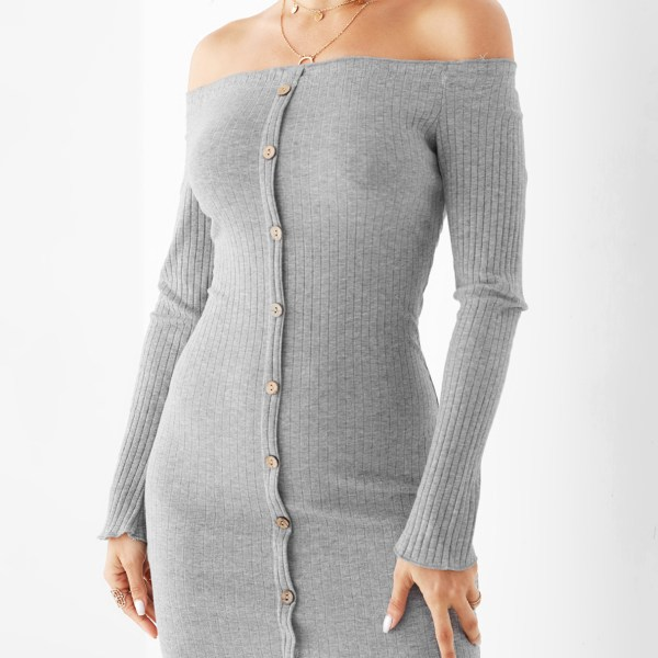 Grey Off The Shoulder Front Button Bodycon Dress 2