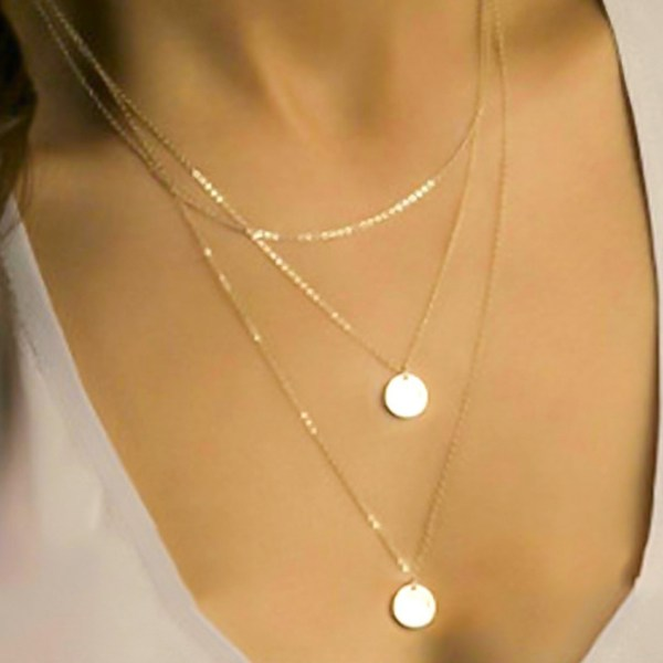 Gold Color Round Pendant Multi-layer Necklace 2
