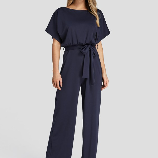 Navy High-Waisted Wide Leg Jumpsuit with Belt 2