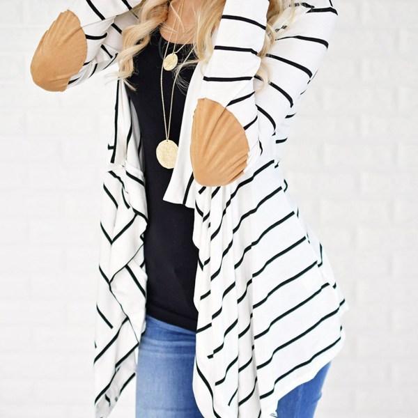 White Stripe Long Sleeves Cardigan 2