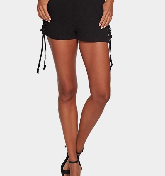Black Lace-up Design Two Pockets Skorts 2