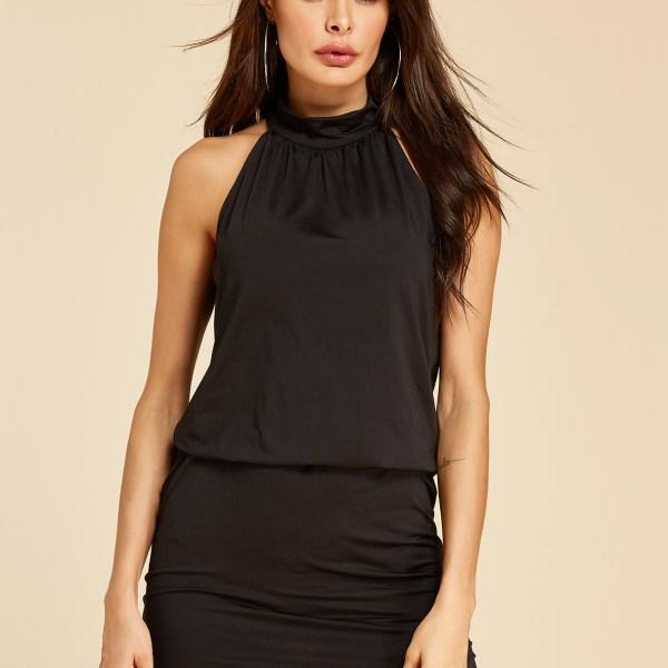 YOINS Black Button Keyhole Design Halter Sleeveless Dress 2