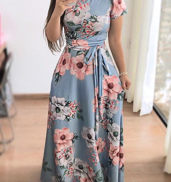 Blue Belt Design Floral High Neck Short Sleeves Dress 1