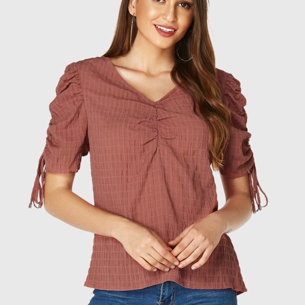 YOINS Rust Ruched Design V-neck Short Sleeves Blouse 2