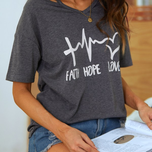 YOINS Grey Letter Round Neck Short Sleeves Tee 1