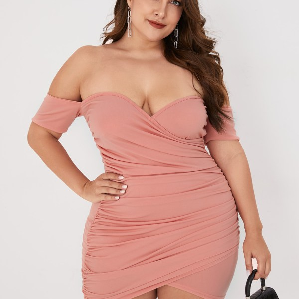 Plus Size Pleated Off The Shoulder Short Sleeves Dress 2