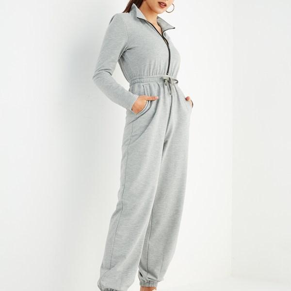 Grey Zip Front Drawstring Waist Side Pockets Jumpsuit 2