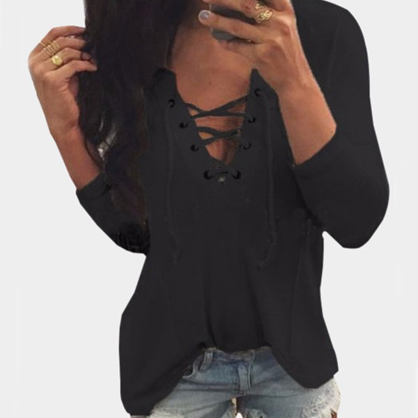 V Neck Lace Up Front Loose T-shirt in Black 2