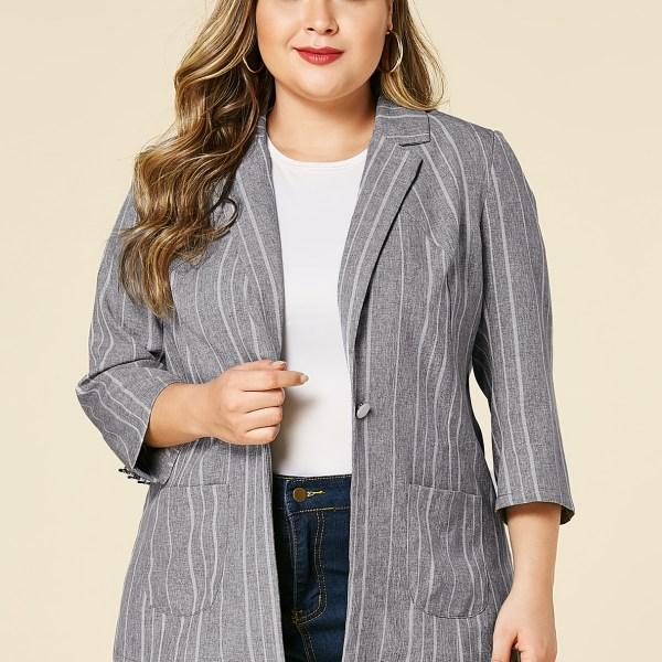 YOINS Plus Size Grey Stripe Notch Collar Blazer 2