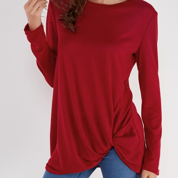 Burgundy Pleated Design Round Neck Long Sleeves T-shirts 2