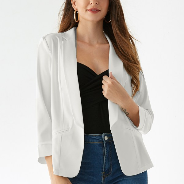 YOINS White Pocket Design Long Sleeves Opent Front Blazer 2