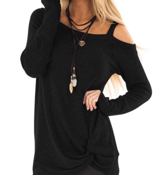 Black Crossed Front Design Plain One Shoulder Long Sleeves T-shirts 2