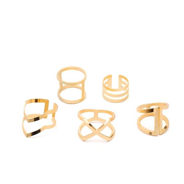 Gold Hollow Detail Layed Ring Set 2