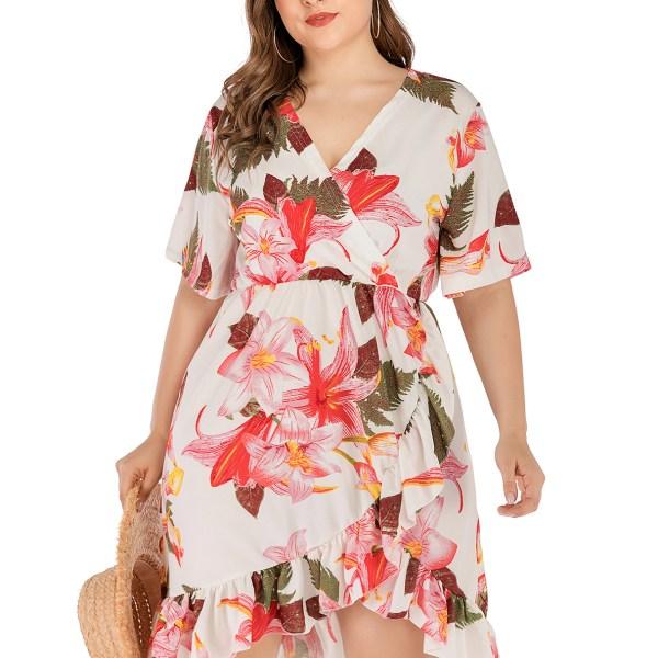 Plus Size White Random Floral Print V-neck Elastic Waist Dress 2