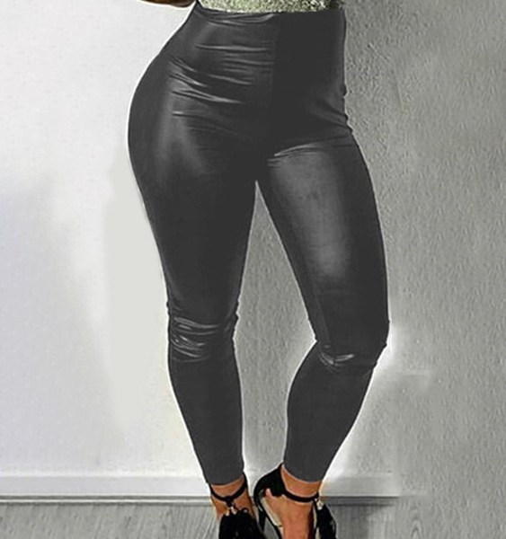 Black Super Stretch Faux Leather Bodycon Leggings 2