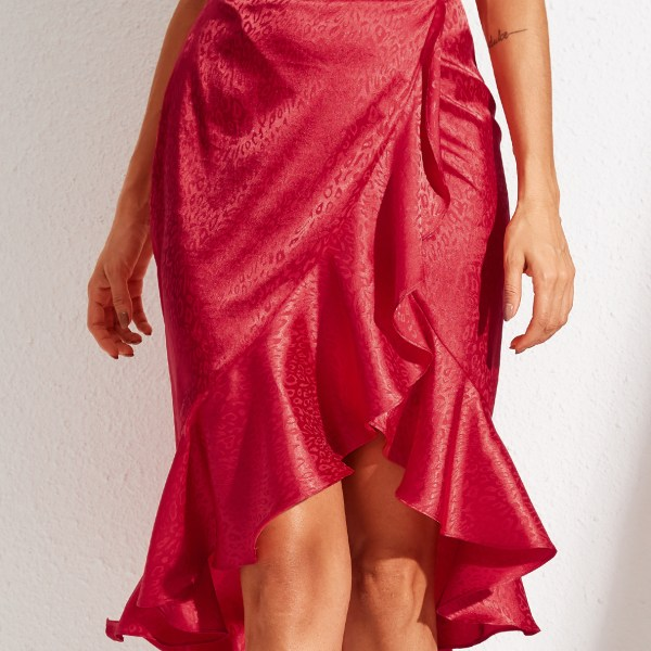YOINS Red Ruffle Trim Leopard High-Waisted Midi Skirt 2