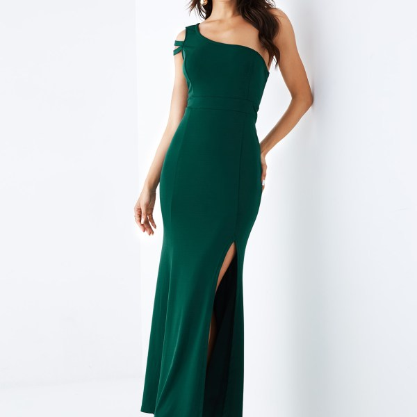 YOINS Green One Shoulder Sleeveless Slit Hem Dress 2