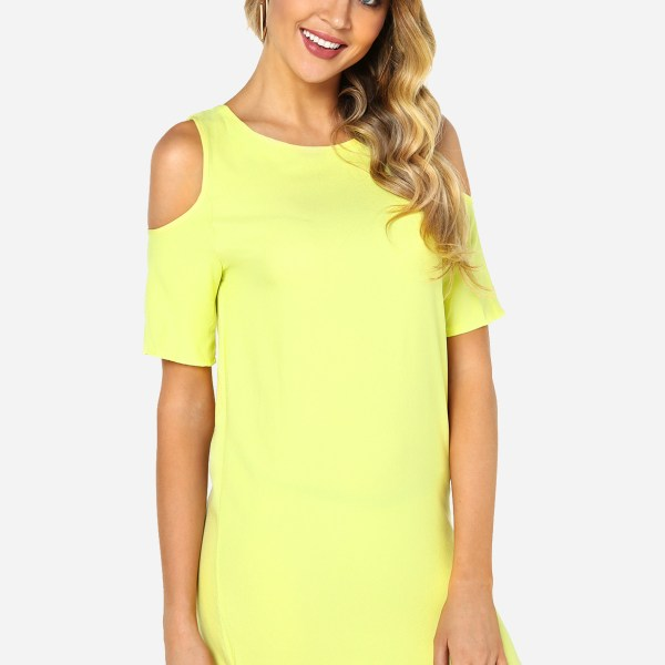 Yellow Cold Shoulder Mini Dress 2