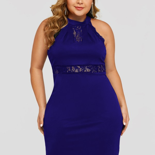 Plus Size Blue Lace Insert Halter Sleeveless Dress 2