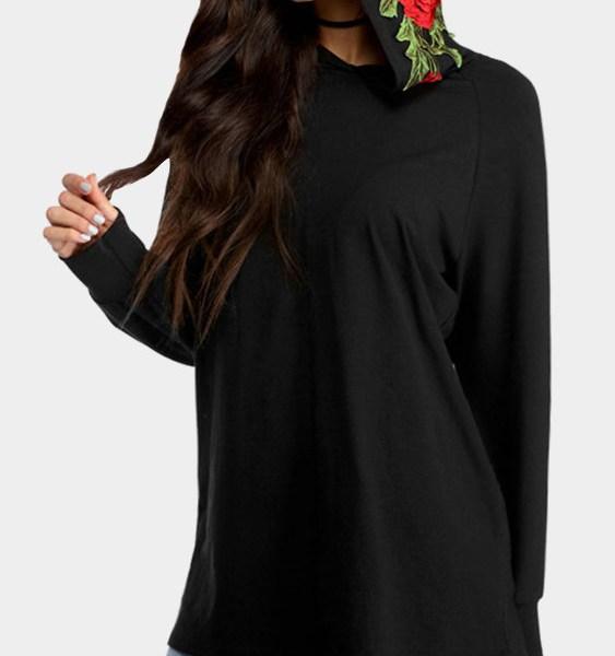 Black Embroidery Pattern Hoodie 2
