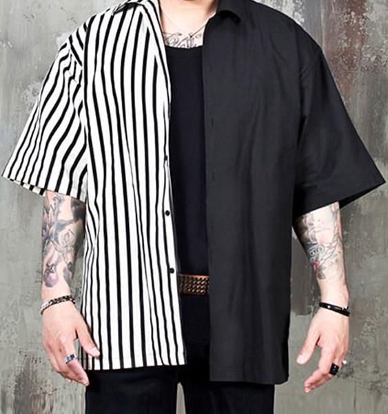 Men Fashion Black Striped Patchwork Hip-hop Personality Casual Short Sleeve Shirt 1