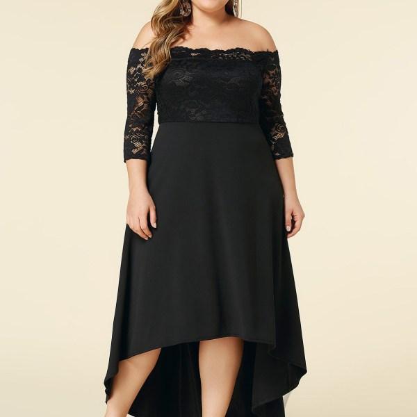 Plus Size Black Lace Off The Shoulder High Low Hem Dress 2