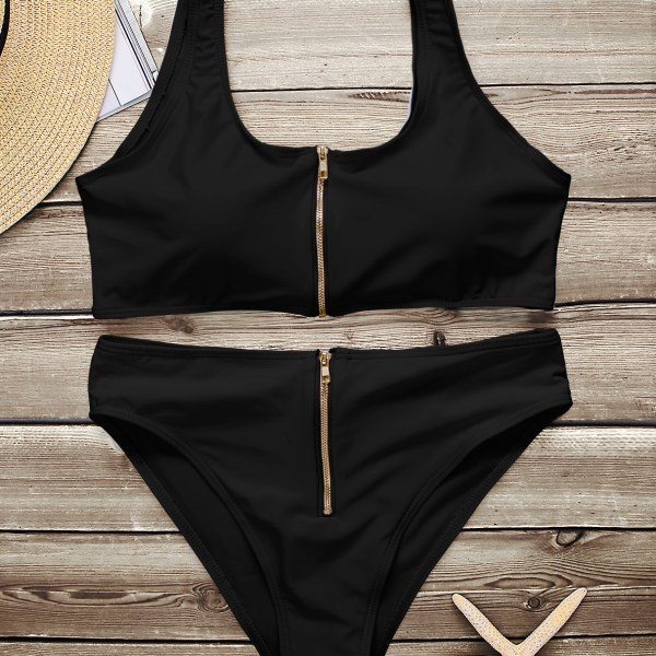 Black Sexy Scoop Neck Zipper Front High-waisted Bikini Set 1
