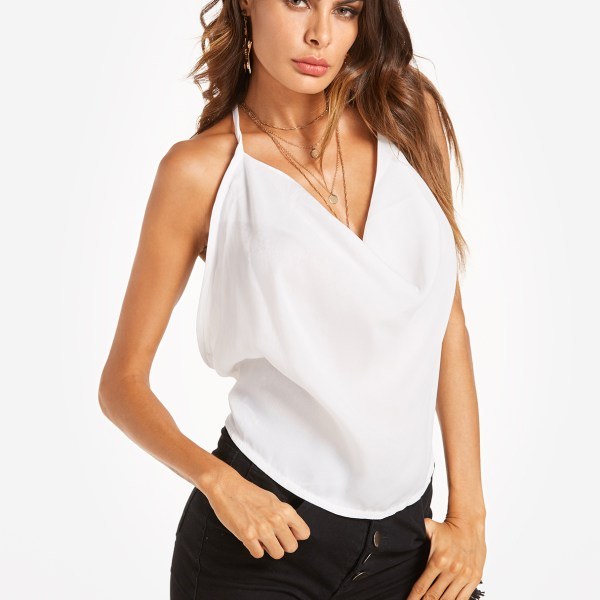 White Sexy V-neck Backless Top with Self-tie Design 2