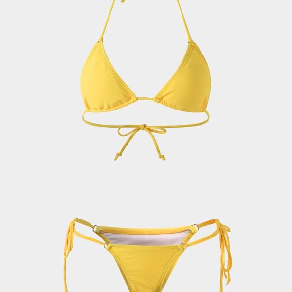 Yellow Plain Halter Bikini Set 2