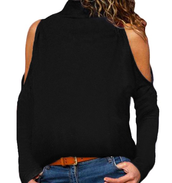 Plus Size Black Cut Out Cold Shoulder Long Sleeves Turtleneck Tee 2
