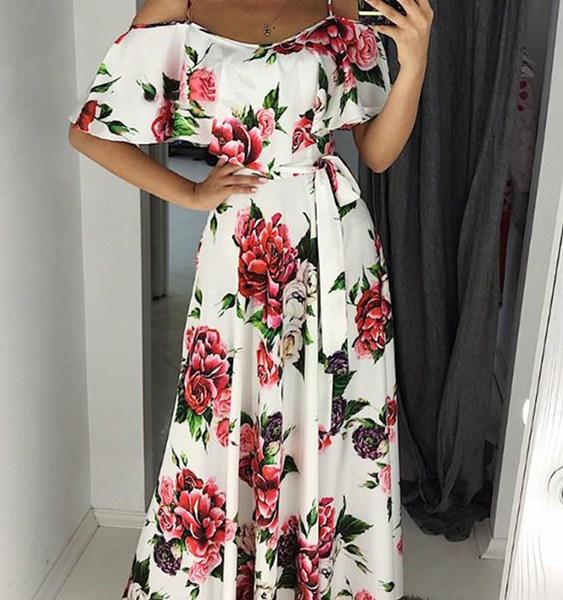 White Belted Random Floral Print Cold Shoulder Short Sleeves Dress 2