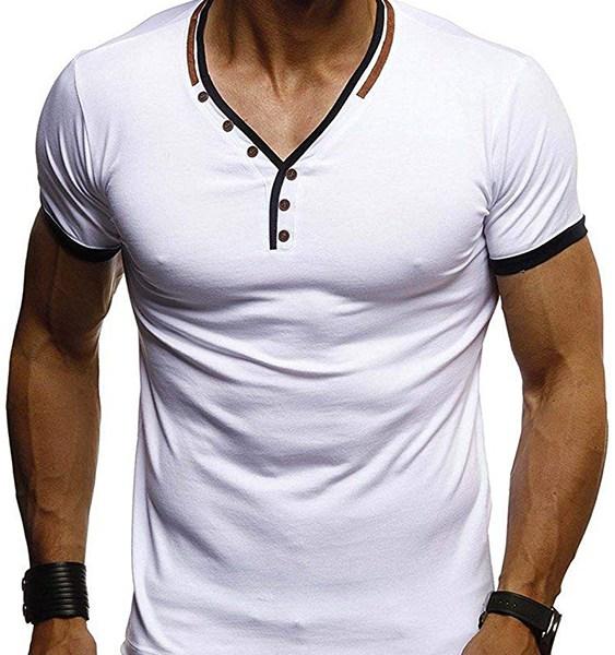Men Casual Plain Button Stitching V-neck T-Shirts 2