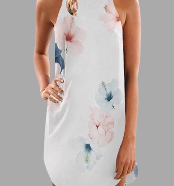 White Random Floral Print Halter Neck Sleeveless Dress 2