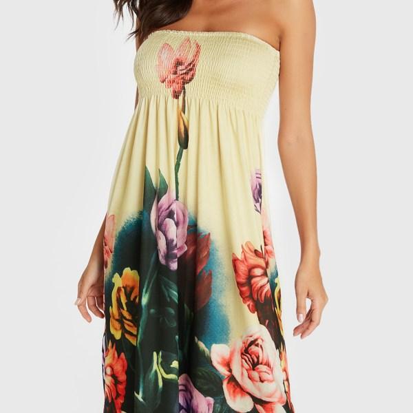 Beige Floral Print Shirred Strapless Dress 2
